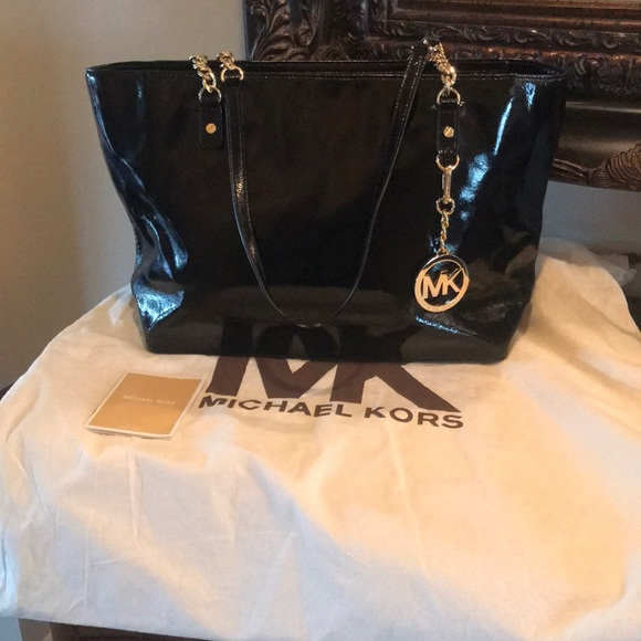 Michael Kors Handbags - Black Patent Leather Michael Kors Purse